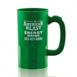 Green 14 oz Plastic Beer Stein Personalized